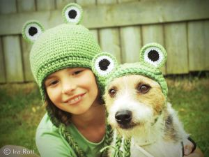Handmade crocheted Frog hats for kids and your family dog