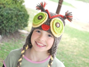 Handmade Crocheted Owl Hat with Green Eyes