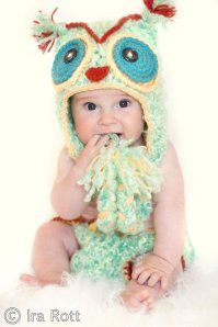 Handmade Crocheted Owl Hat and Diaper Cover Set